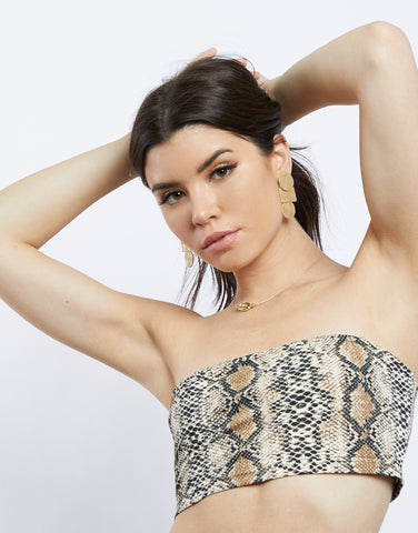 Wild Guess Snake Print Tube Top