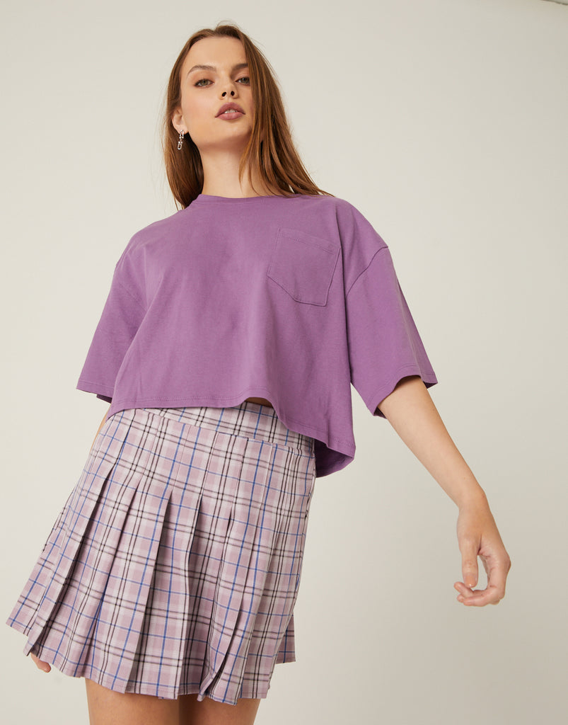 Woven Plaid Pleated Skirt Bottoms -2020AVE