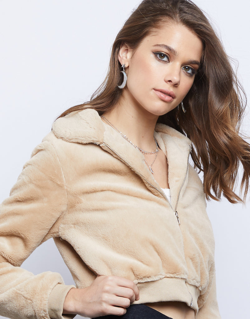 Zip Up Faux Fur Jacket Outerwear -2020AVE