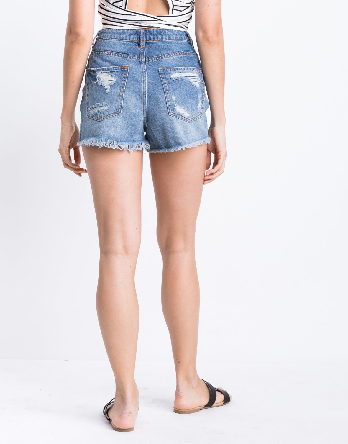Zipped In Denim Shorts
