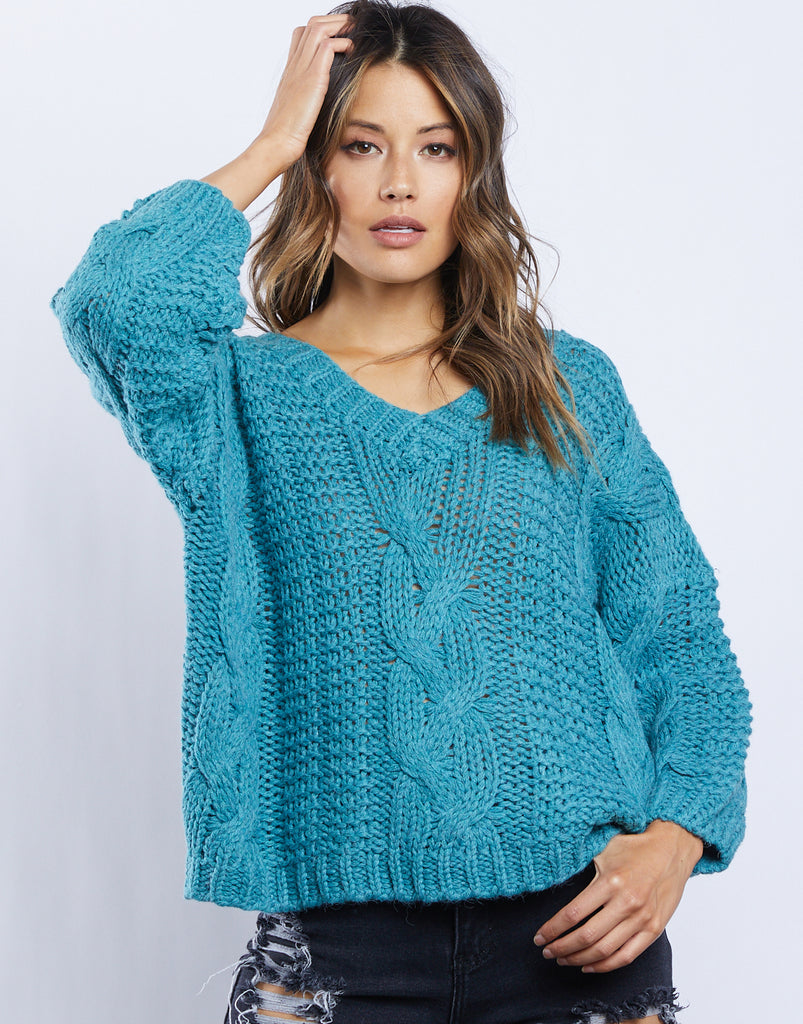 Zoe Cable Knit Sweater Tops Turquoise Small -2020AVE