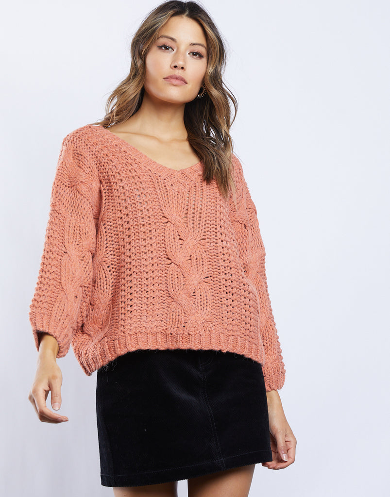 Zoe Cable Knit Sweater Tops Rust Small -2020AVE