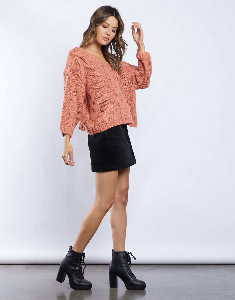 Zoe Cable Knit Sweater Tops -2020AVE