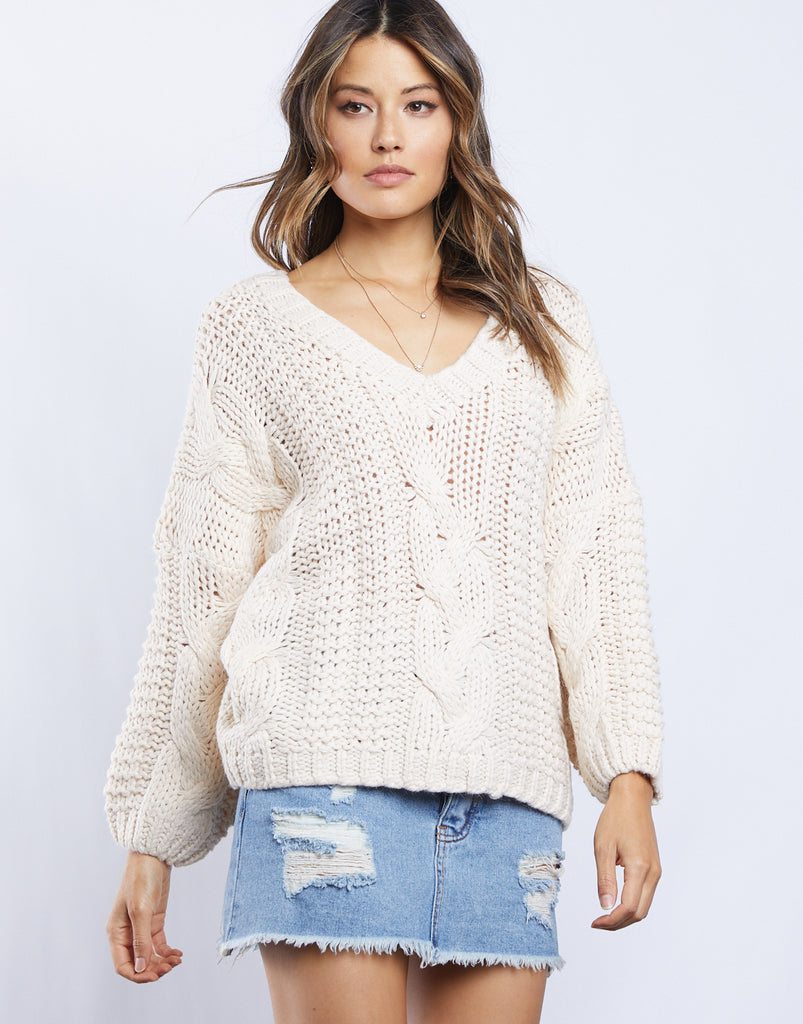 Zoe Cable Knit Sweater Tops Ivory Small -2020AVE