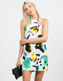 Front View of Abstract Camo Textured Dress