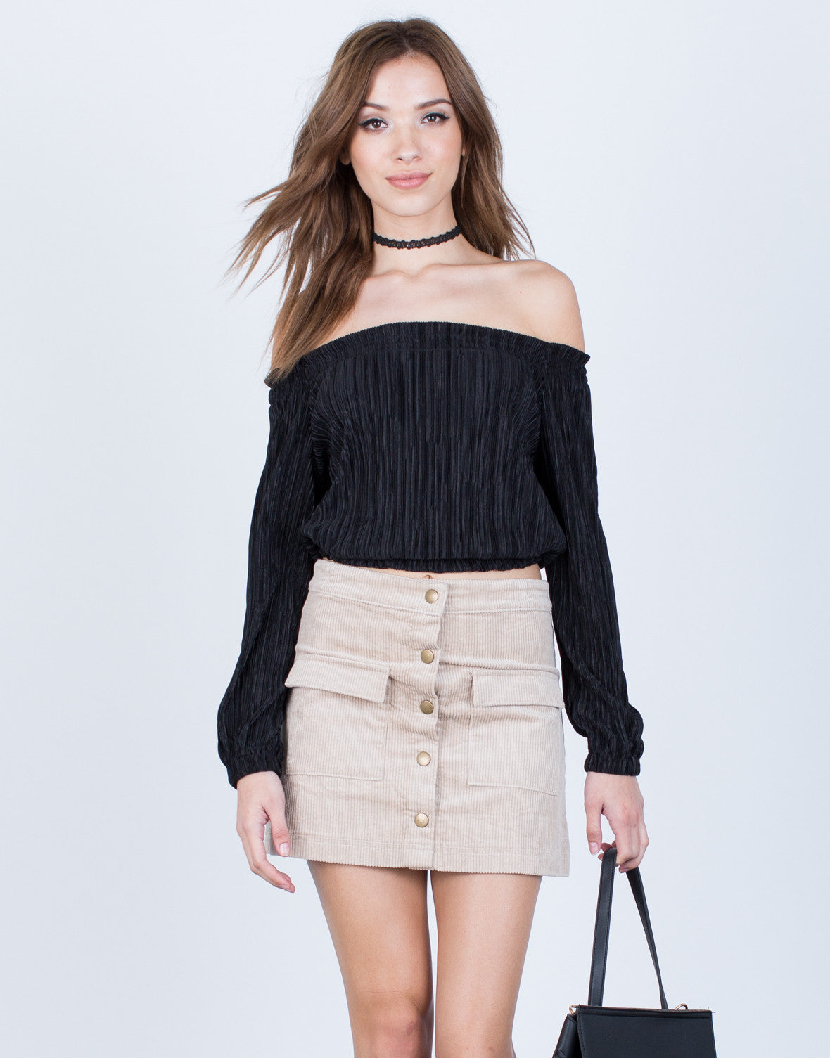 63dab34e2d9 Accordion Pleated Crop Top - Off the Shoulder Blouse - Pleated Top ...