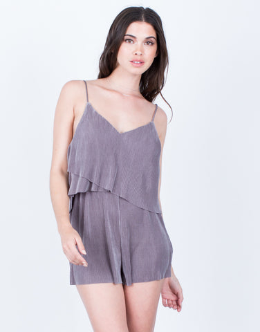 Front View of Accordion Pleated Romper
