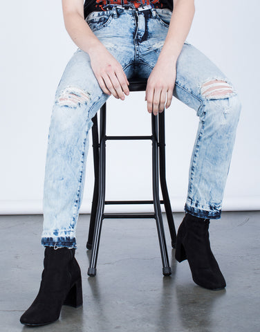 Detail of Acid Wash Boyfriend Jeans