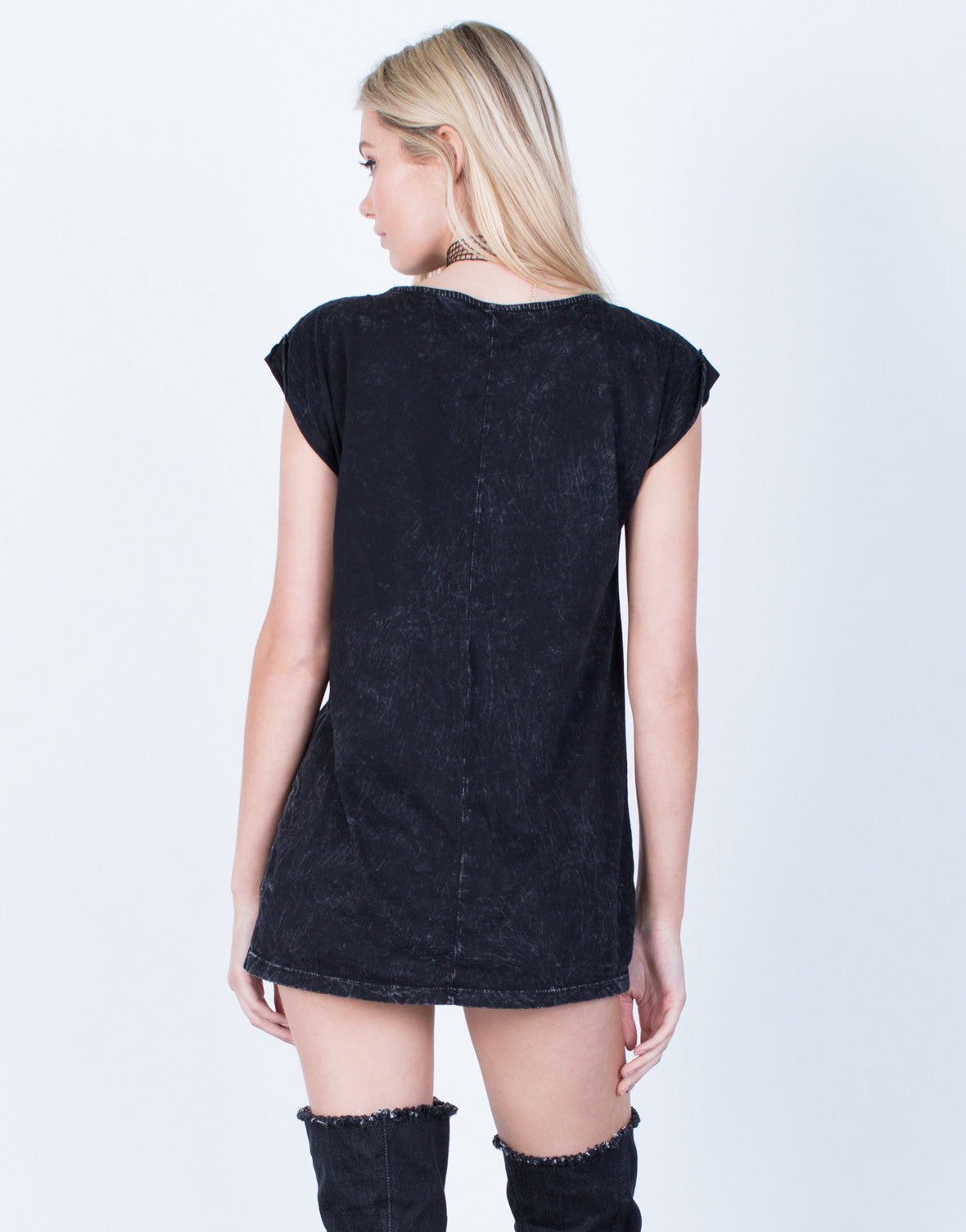 Back View of Acid Wash Lace-Up Top