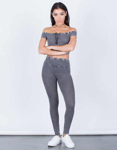 Front View of Acid Wash Leggings