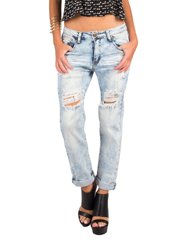 Acid Wash Distressed Boyfriend Jeans - Machine DMC-1A6209-Light Blue