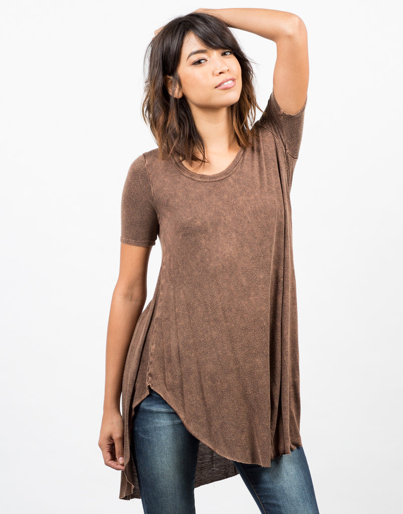 Front View of Acid Washed Flowy Top