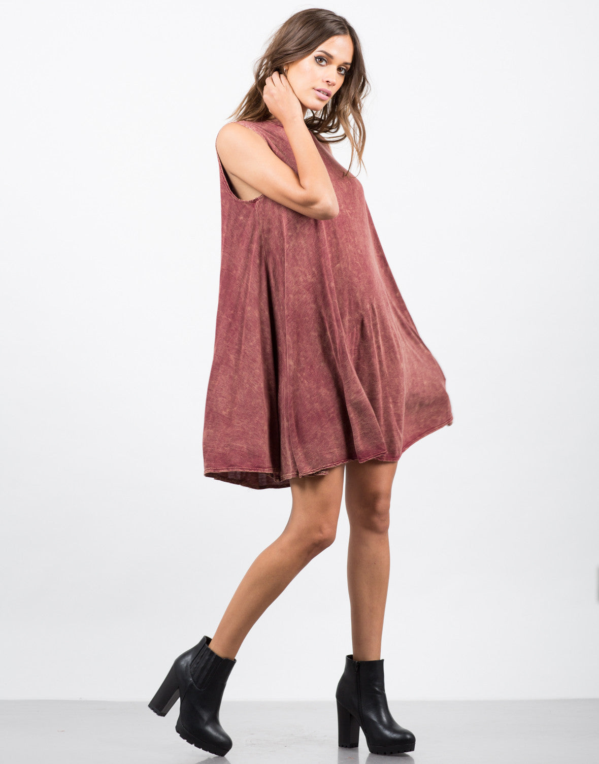 Side View of Acid Wash Flare Dress
