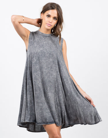 Front View of Acid Wash Flare Dress