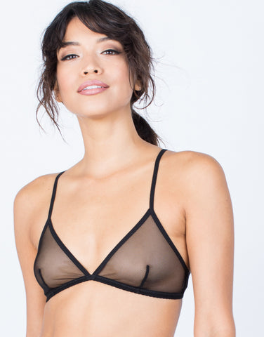 Black Alex Mesh Net Bralette - Front View