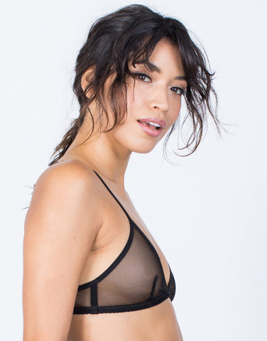 Black Alex Mesh Net Bralette - Side View