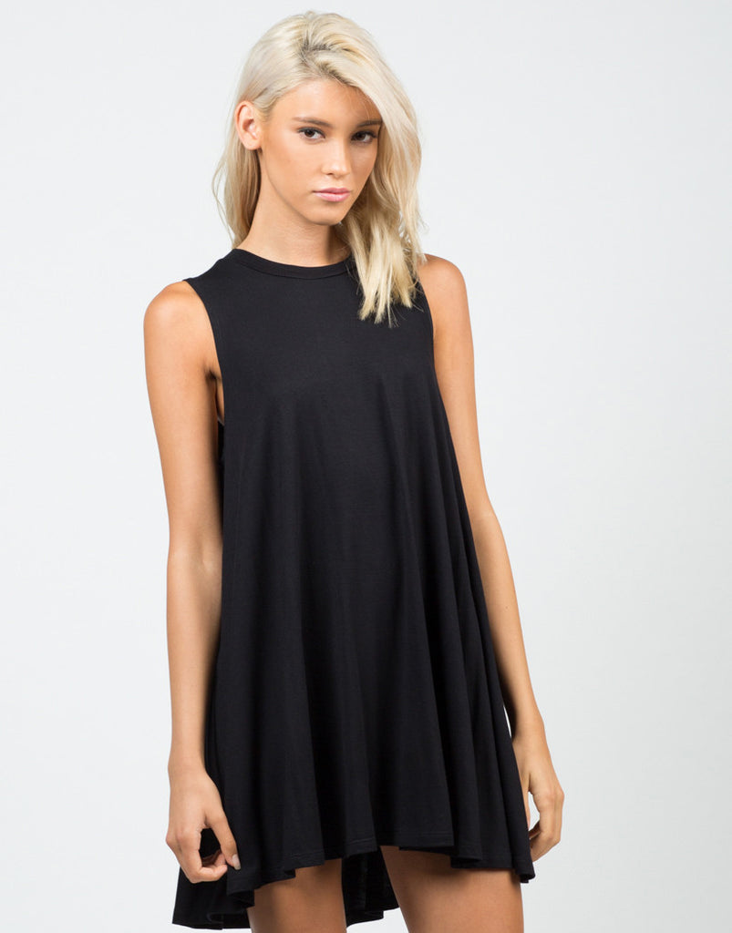Front View of A-Line Swing Tunic Dress