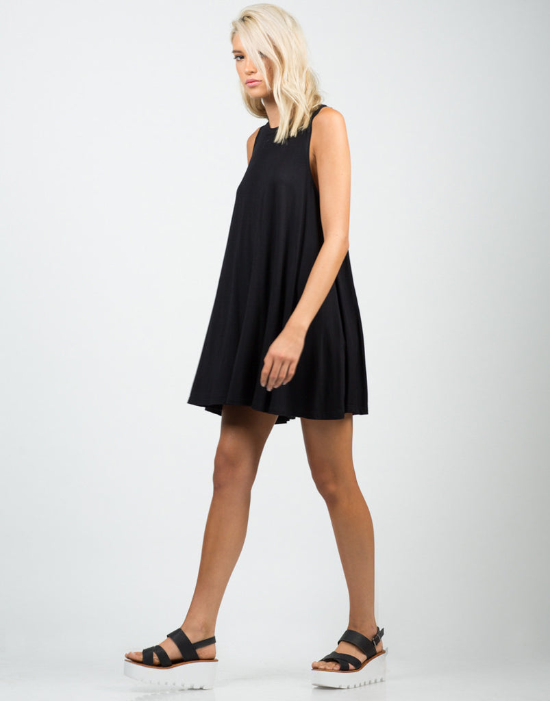 Side View of A-Line Swing Tunic Dress