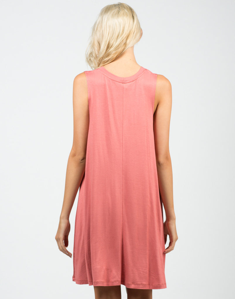 Back View of A-Line Swing Tunic Dress