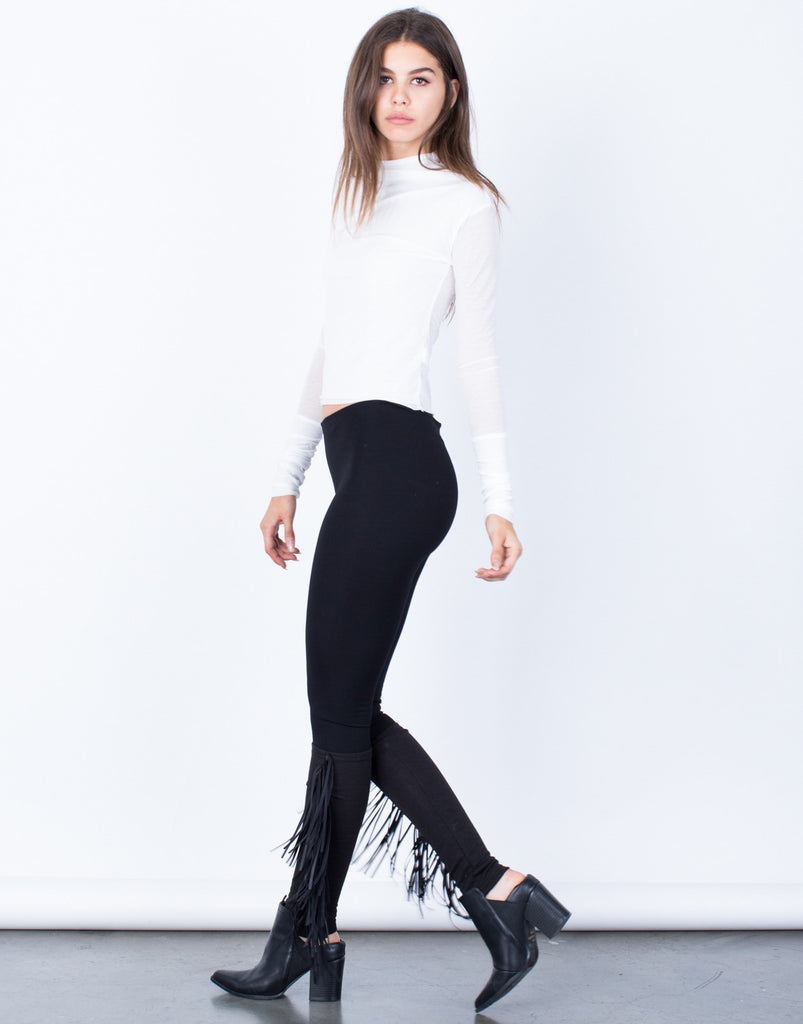 Side View of All About Fringe Leggings