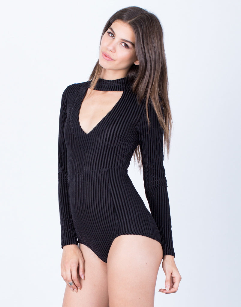 Front View of All About Velvet Bodysuit