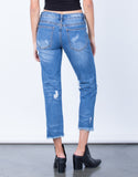 Back View of All Around Distressed Denim Jeans