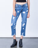 Front View of All Around Distressed Denim Jeans