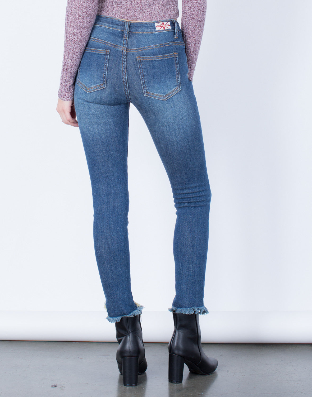 Back View of All About Distressed Skinny Jeans