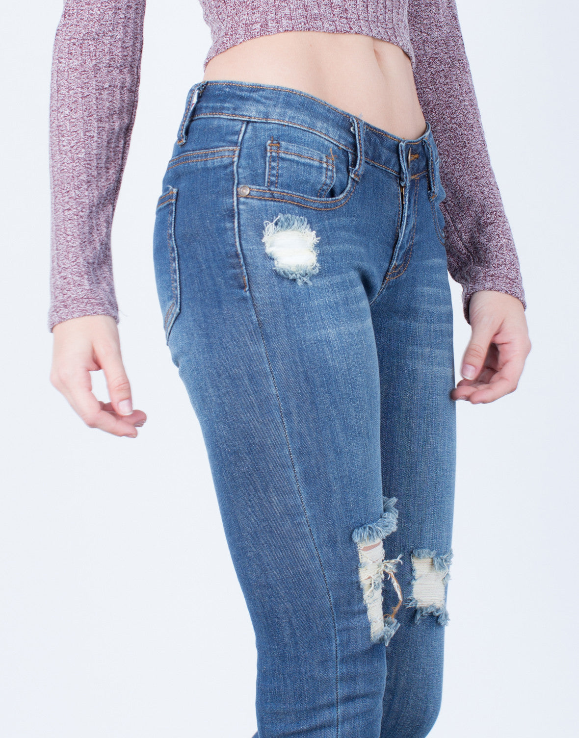 Detail of All About Distressed Skinny Jeans