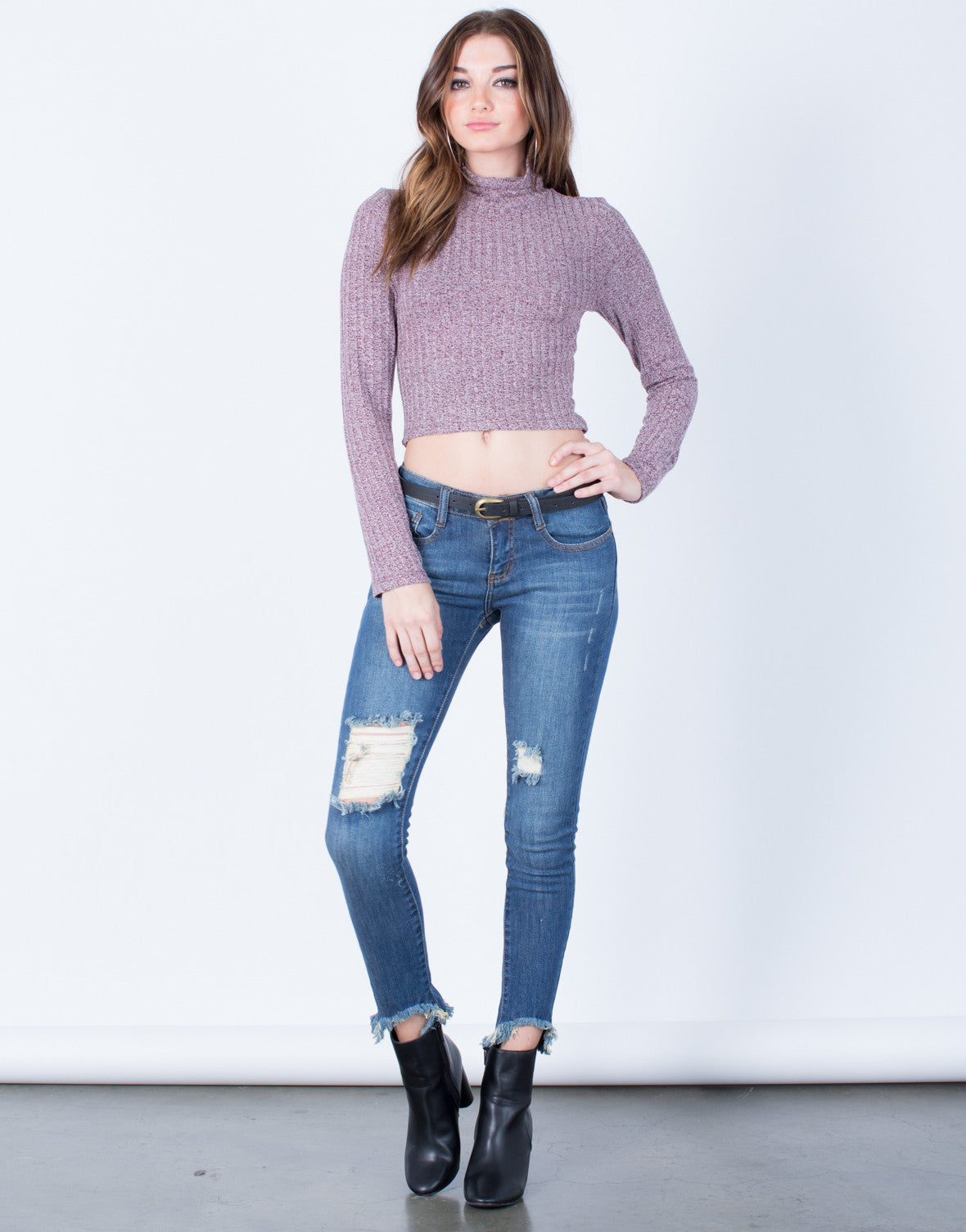 Front View of All About Distressed Skinny Jeans