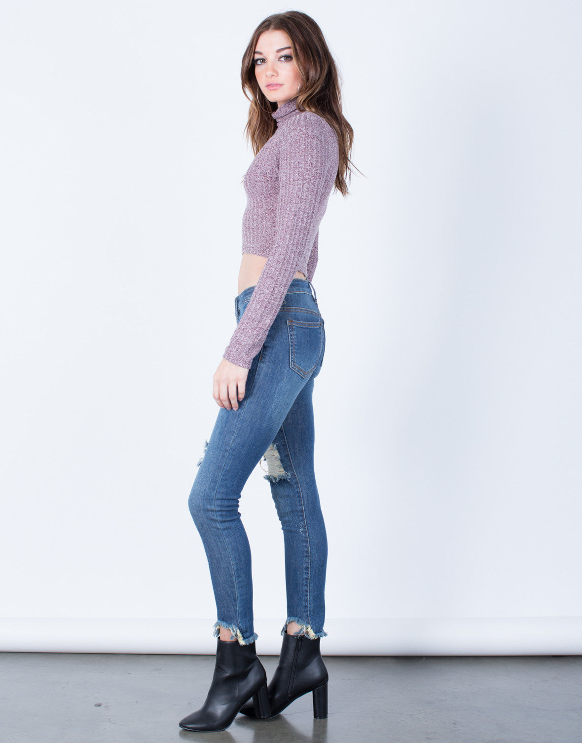 Side View of All About Distressed Skinny Jeans