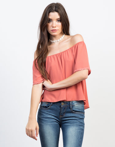 Front View of All Dolled Up Flowy Top