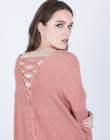 Detail of All Laced Up Sweater Top