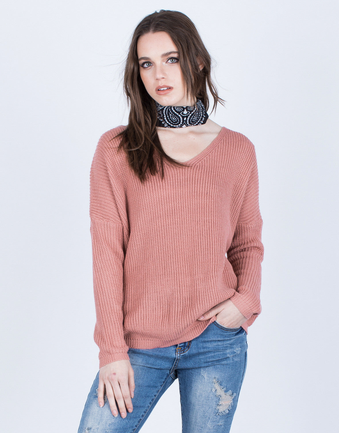 Front View of All Laced Up Sweater Top