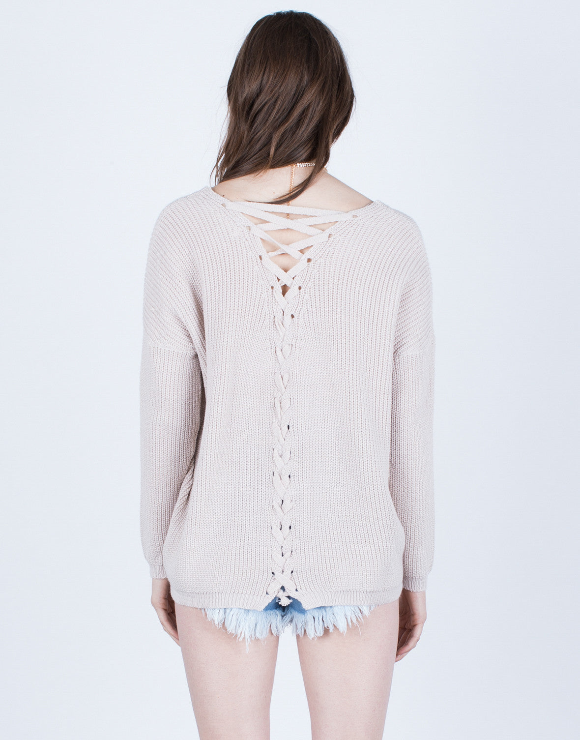 Back View of All Laced Up Sweater Top