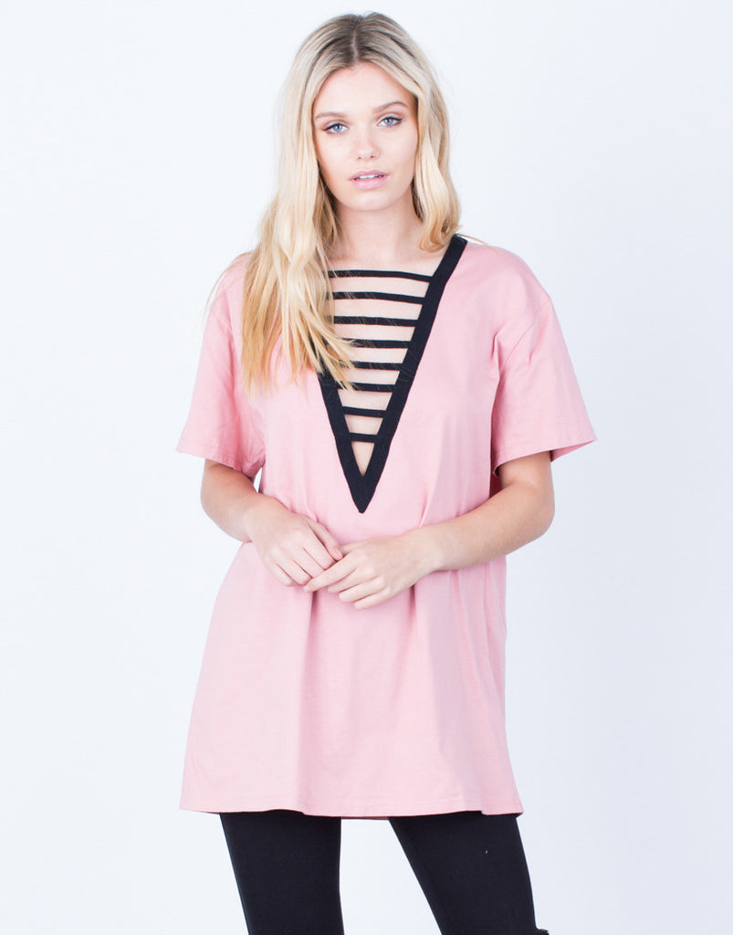 All Lined Up Basic Tee Tops Pink Small -2020AVE