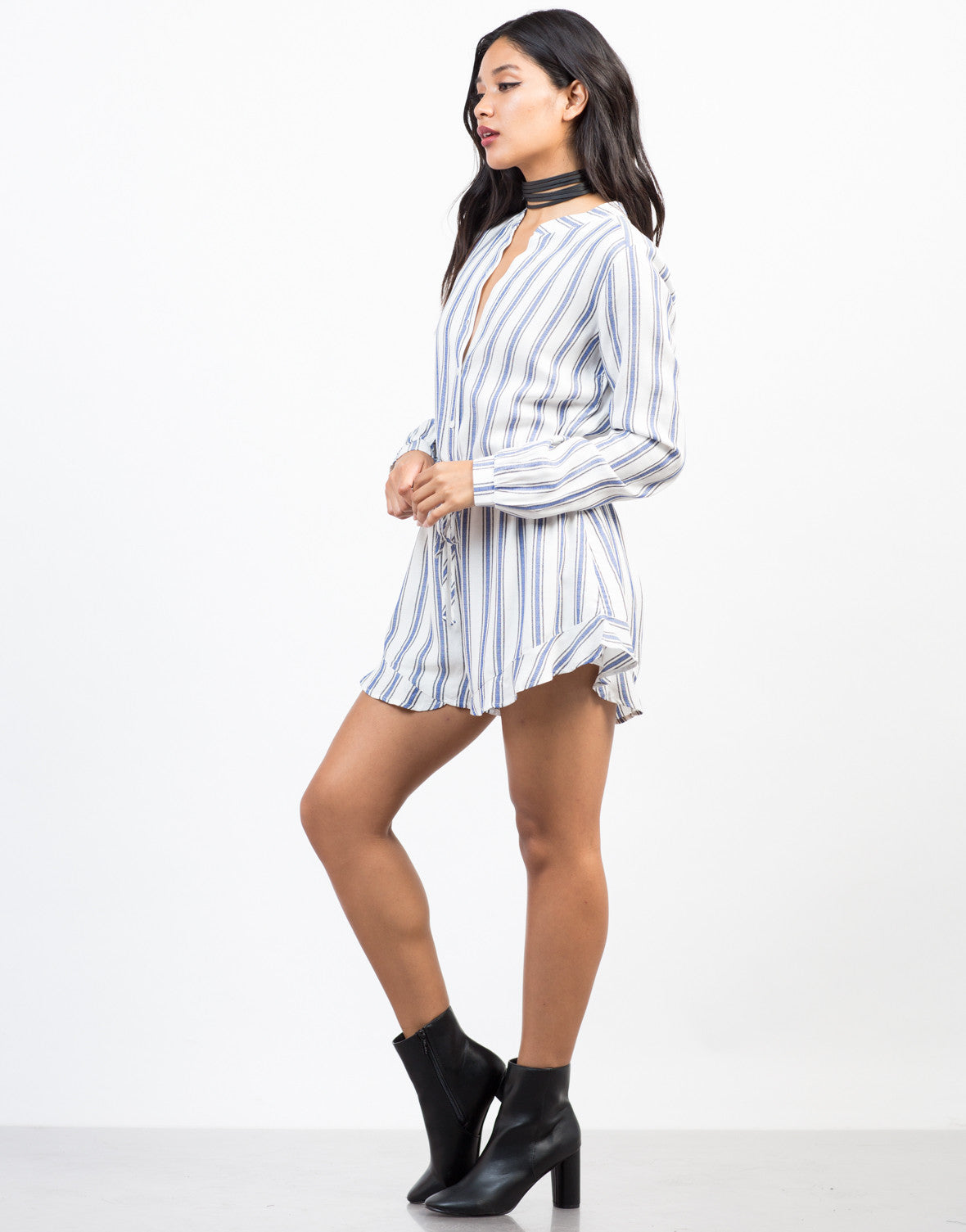 Side View of All Lined Up Romper