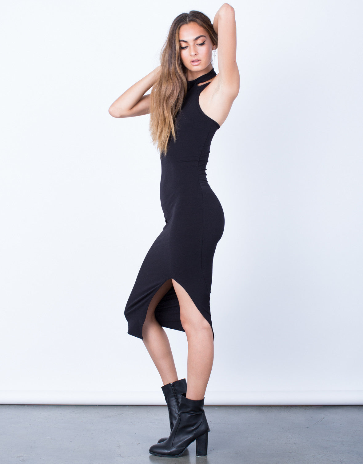 Side View of All Night Long Bodycon Dress