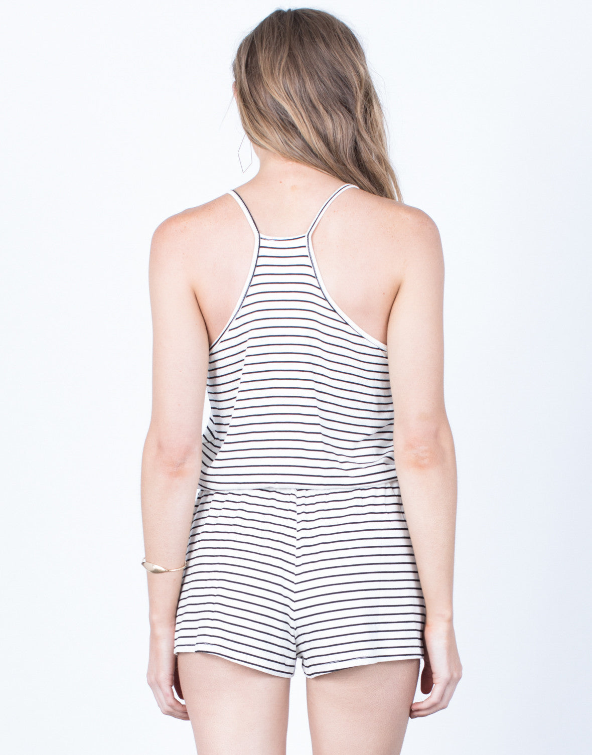 Back View of All Striped Up Romper