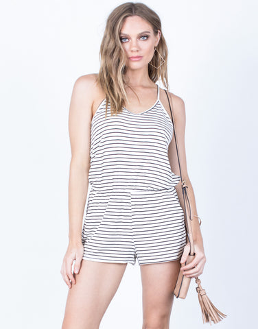 Front View of All Striped Up Romper