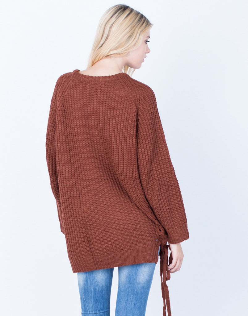 Back View of All Tied Up Sweater