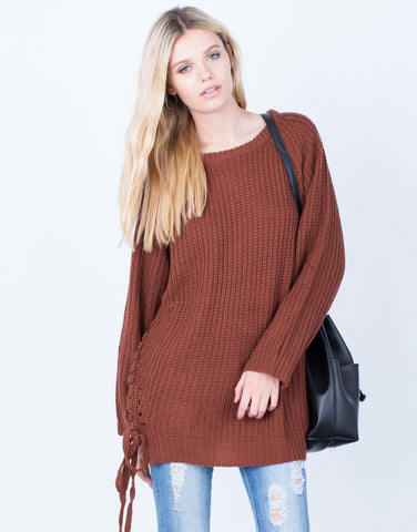 Front View of All Tied Up Sweater