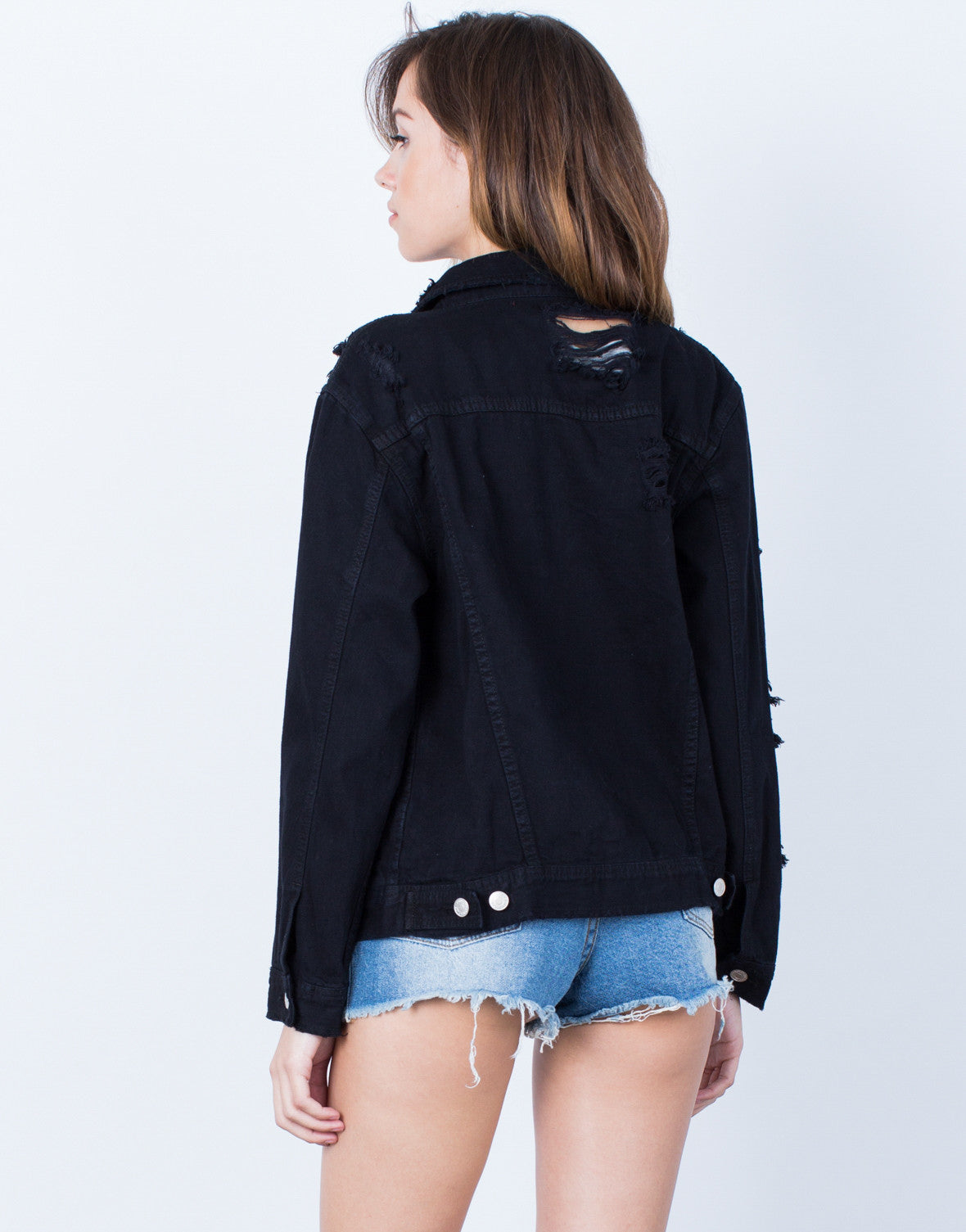 Back View of All Torn Up Denim Jacket