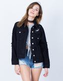 Front View of All Torn Up Denim Jacket