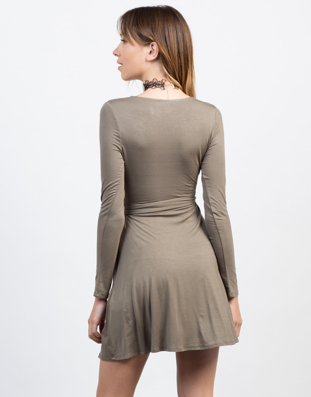 Back View of All Wrapped Up L/S Dress