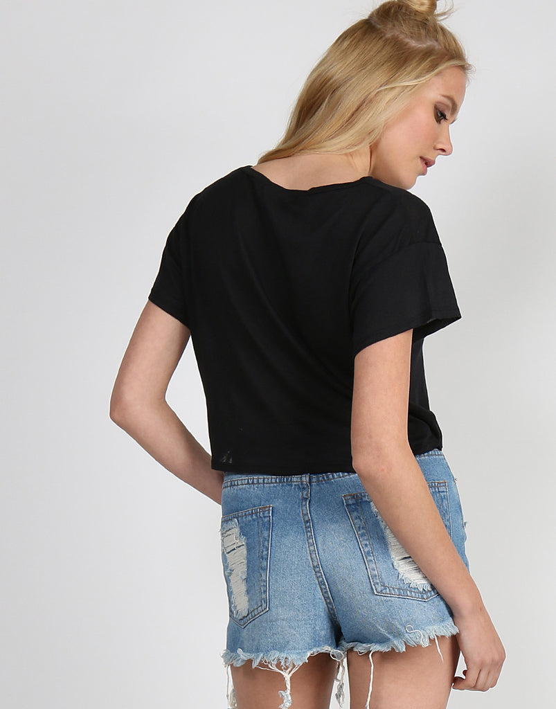 All Mine Cropped Tee - Black