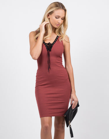 Front View of All Tied Up Bodycon Dress