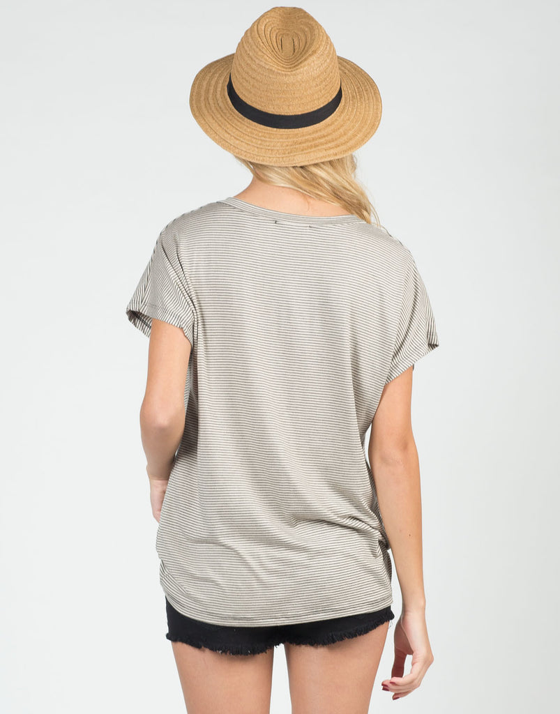 Back View of Along These Lines V-Neck Tee