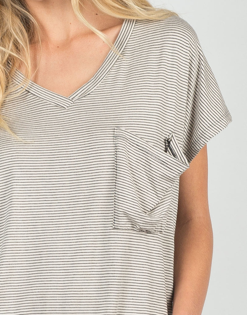 Detail of Along These Lines V-Neck Tee