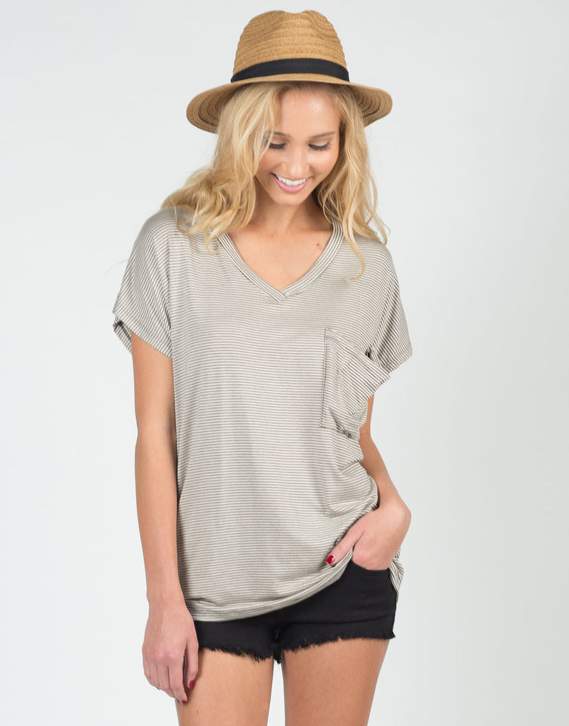 Front View of Along These Lines V-Neck Tee